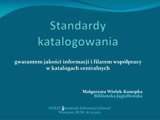 Standardy katalogowania