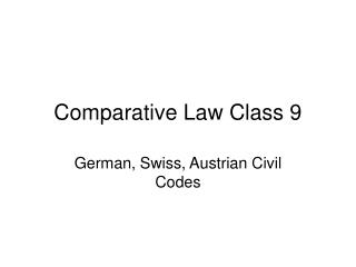 Comparative Law Class 9