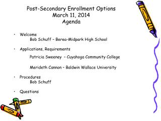 Post-Secondary Enrollment Options March 11, 2014 Agenda
