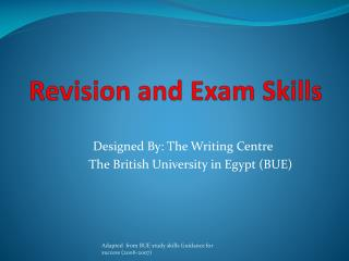 Revision and Exam Skills