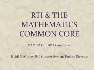 Rti  the Mathematics Common Core