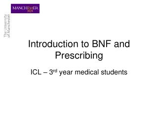 Introduction to BNF and Prescribing