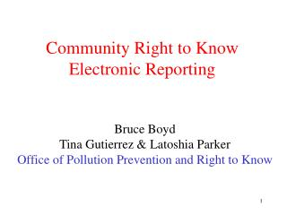 Community Right to Know Electronic Reporting