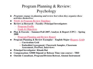 Program Planning & Review: Psychology