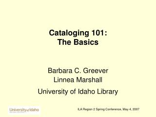 Cataloging 101:  The Basics