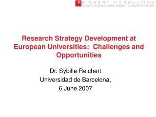 Research Strategy Development at European Universities:  Challenges and Opportunities
