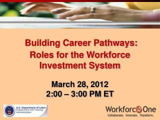 Building Career Pathways:  Roles for the Workforce Investment System March 28, 2012