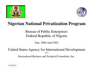 Bureau of Public Enterprises Federal Republic of Nigeria