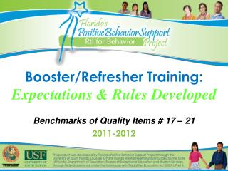 Booster/Refresher Training: Expectations & Rules Developed