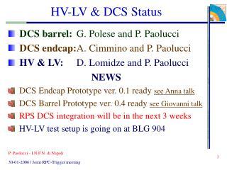 HV-LV & DCS Status