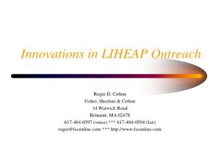 Innovations in LIHEAP Outreach
