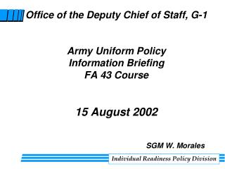 Individual Readiness Policy Division