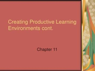 Creating Productive Learning Environments cont.