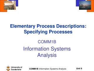 Elementary Process Descriptions: Specifying Processes