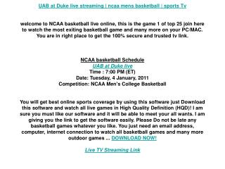 UAB at Duke live streaming | ncaa mens basketball | sports T