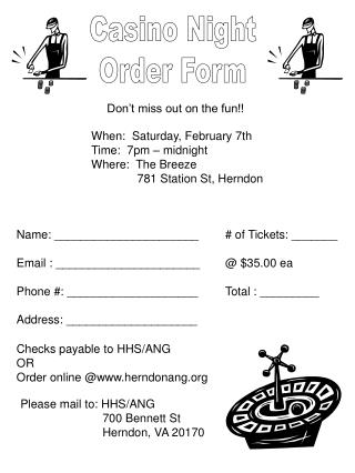 Casino Night Order Form