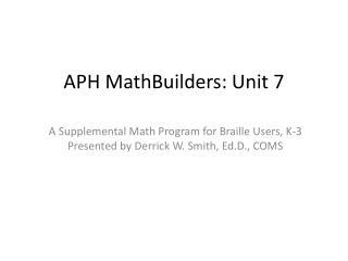 APH  MathBuilders : Unit 7