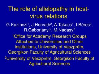The role of allelopathy in host-virus relations