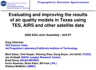 Greg Osterman TES Science Team Jet Propulsion Laboratory/California Institute of Technology
