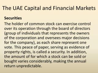 The UAE Capital and Financial Markets