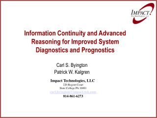 Information Continuity and Advanced Reasoning for Improved System Diagnostics and Prognostics