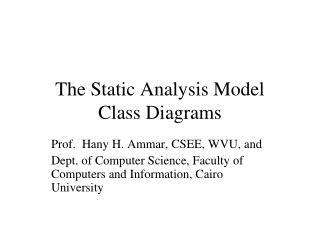 The Static Analysis Model Class Diagrams