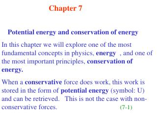 Chapter 7 Potential energy and conservation of energy