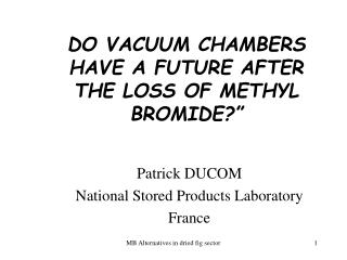 DO VACUUM CHAMBERS HAVE A FUTURE AFTER THE LOSS OF METHYL BROMIDE