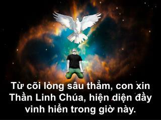 Từ cõi lòng sâu thẳm, con xin Thần Linh Chúa, hiện diện đầy vinh hiển trong giờ này.