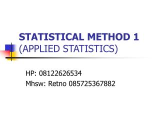 STATISTICAL METHOD 1 (APPLIED STATISTICS)