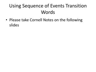 Using Sequence of Events Transition Words