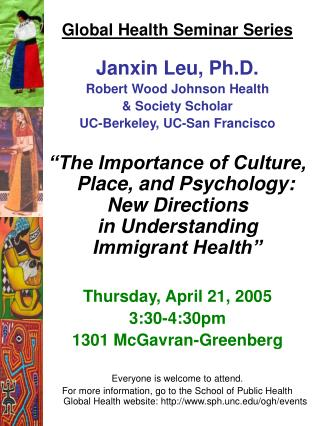 Global Health Seminar Series Janxin Leu, Ph.D. Robert Wood Johnson Health  & Society Scholar