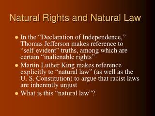 Natural Rights and Natural Law