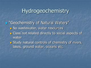 Hydrogeochemistry