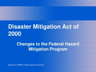Disaster Mitigation Act of 2000