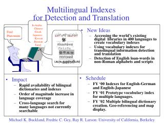 Multilingual Indexes  for Detection and Translation