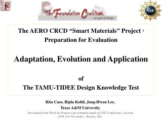 """The AERO CRCD """"Smart Materials"""" Project  1 Preparation for Evaluation"""