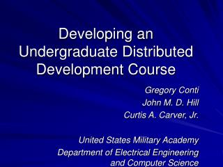 Developing an Undergraduate Distributed Development Course