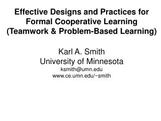 Effective Designs and Practices for Formal Cooperative Learning