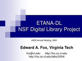 ETANA-DL NSF Digital Library Project