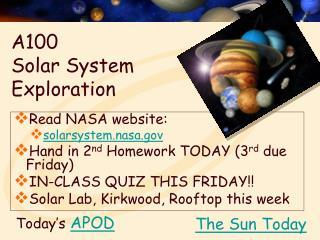 A100  Solar System Exploration