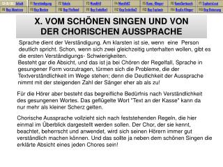 X. VOM SCHÖNEN SINGEN UND VON  DER CHORISCHEN AUSSPRACHE