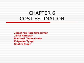 CHAPTER 6 COST ESTIMATION