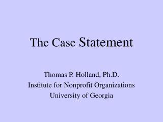The Case Statement
