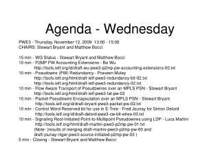 Agenda - Wednesday