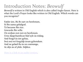Introduction Notes:  Beowulf