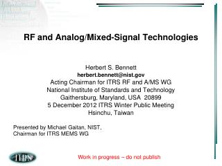 RF and Analog/Mixed-Signal Technologies
