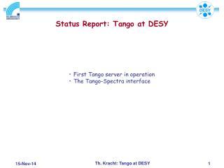 Status Report: Tango at DESY