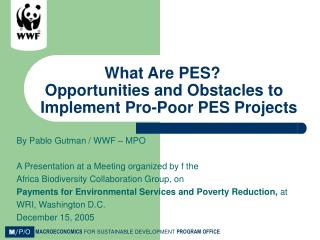 What Are PES?  Opportunities and Obstacles to Implement Pro-Poor PES Projects
