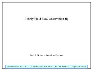 Bubbly Fluid Flow Observation Jig
